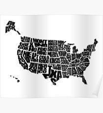 USA Text Map Poster