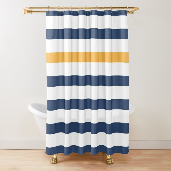 Blue and white stripes with yellow Shower Curtain