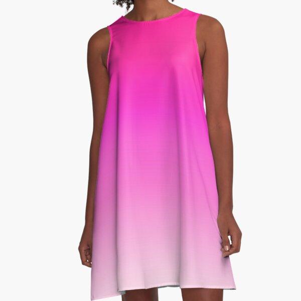 Think Pink Ombre Gradient Tie Dye A-Line Dress