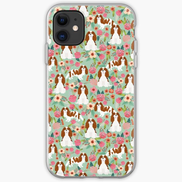 Blenheim cavalier king charles spaniel dog breed florals pattern gifts iPhone Soft Case