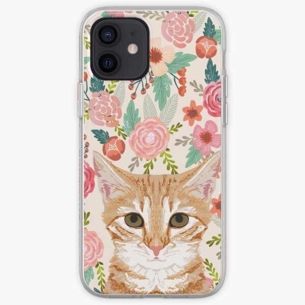 Orange Tabby floral cat head cute pet portrait gifts for orange tabby cat must haves iPhone Soft Case