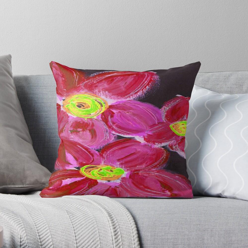 Fuchsia Floral Throw Pillow
