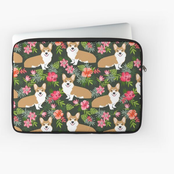 Welsh Corgi hawaiian print pattern florals tropical summer dog breed pet portrait by PetFriendly Laptop Sleeve