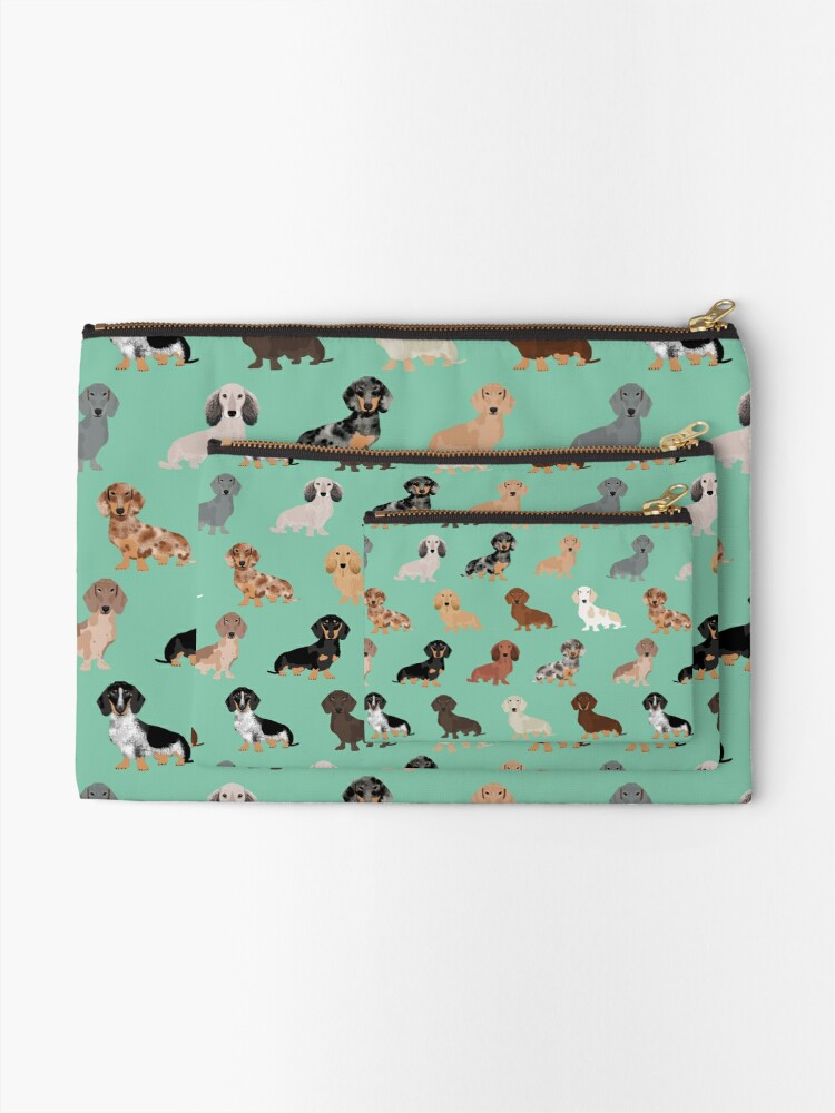 Alternate view of Dachshund dog breed pattern dapple merle black and tan coat colors Zipper Pouch