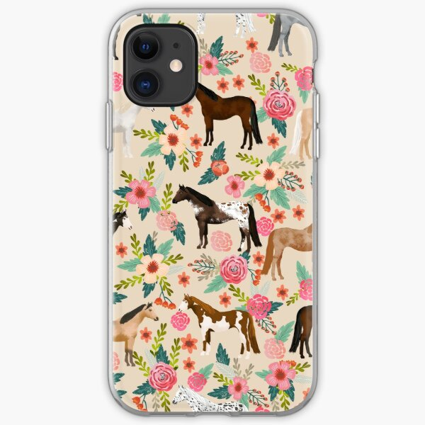 Horses floral horse breeds farm animal pets  iPhone Soft Case