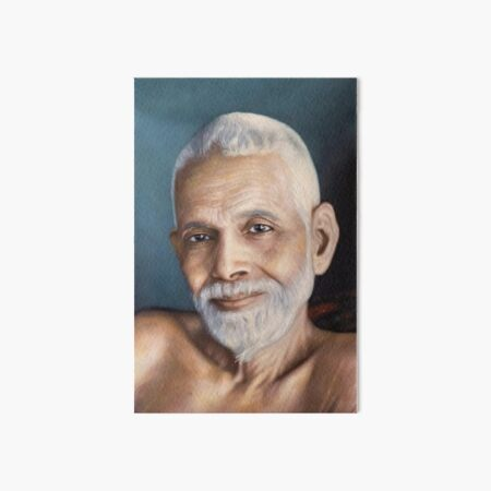 Sri Bhagavan Ramana Maharshi, Portrait From Oil Painting. Yoga Studio & Meditation Room Fine Art By Hearts For Love Art Board Print