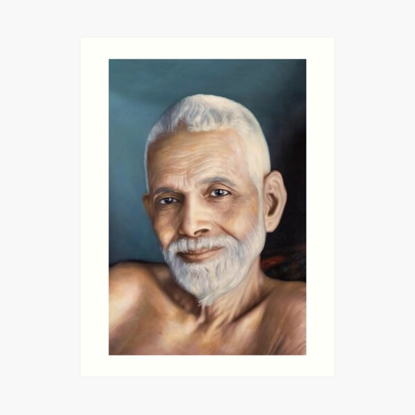 Sri Bhagavan Ramana Maharshi, Portrait From Oil Painting. Yoga Studio & Meditation Room Fine Art By Hearts For Love Art Print