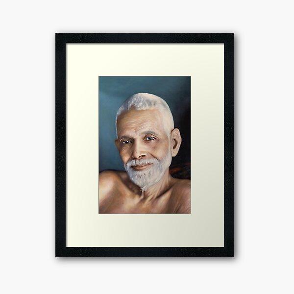 Sri Bhagavan Ramana Maharshi, Portrait From Oil Painting. Yoga Studio & Meditation Room Fine Art By Hearts For Love Framed Art Print