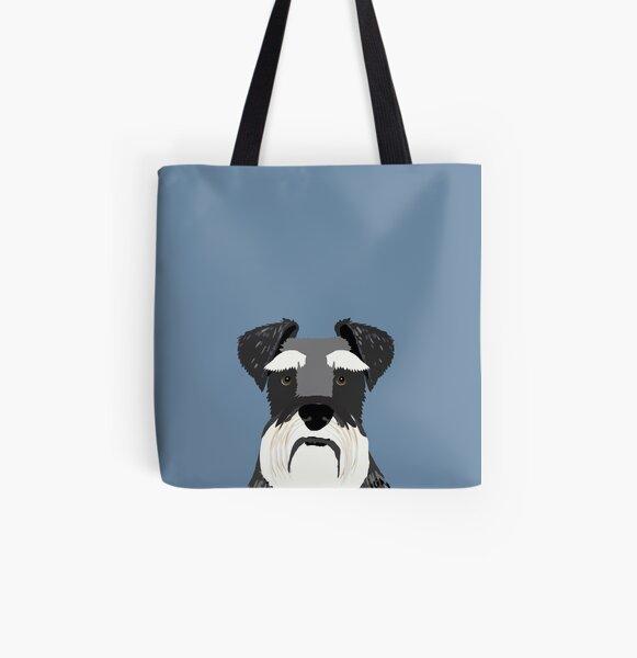 Schnauzer bleu marine gris gris noir et blanc drôle chien amical cadeau pour chien personne Tote bag doublé