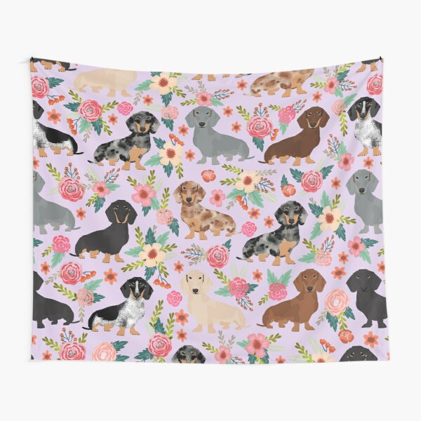 Dachshund floral flowers doxie dachsie dog breed pattern Tapestry