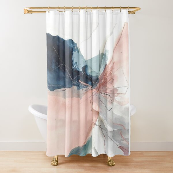 Blush and Gray Flowing Ombre Abstract 1 Shower Curtain