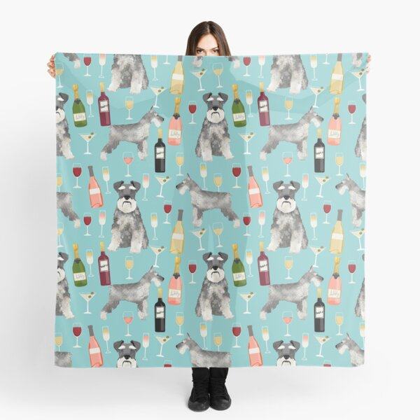 Schnauzer dog breed wine champagne cocktails cute gifts for dog lover Scarf