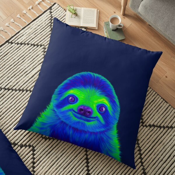 Blue and Green Sloth Floor Pillow