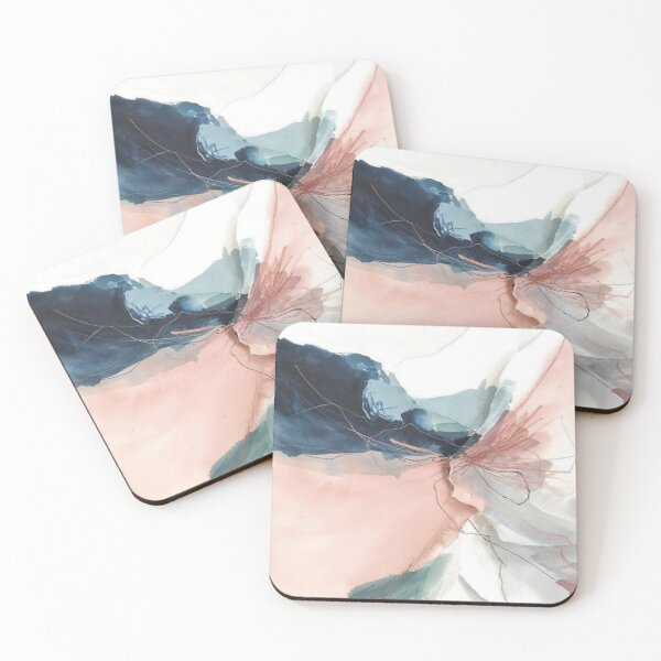 Blush and Gray Flowing Ombre Abstract 1 Coasters (Set of 4)