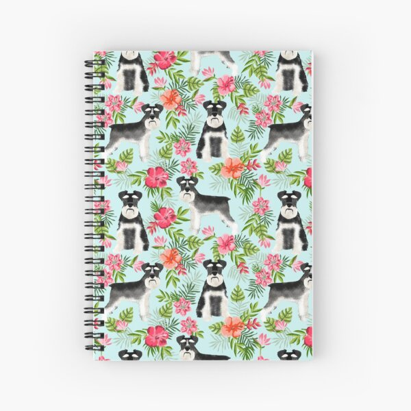 Schnauzer hawaii pattern floral hibiscus floral flower pattern palm leaves by PetFriendly Spiral Notebook