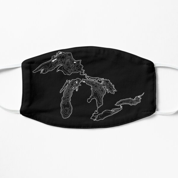 Great Lakes Depth Map White Contour Lines Flat Mask