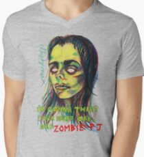 Zombie P J Mens V-Neck T-Shirt