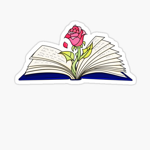 Enchanted Rose Growing from Book Sticker