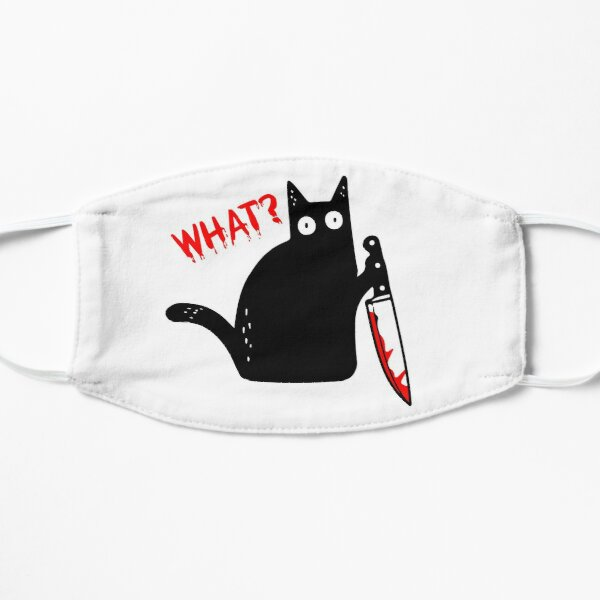 Funny Murderous Cat Holding Knife Halloween Costume - Black Cat WHAT? Mask