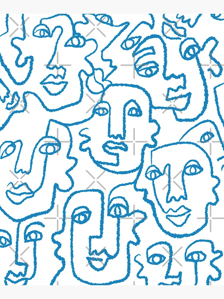 Blue line art faces print by r0undincircles