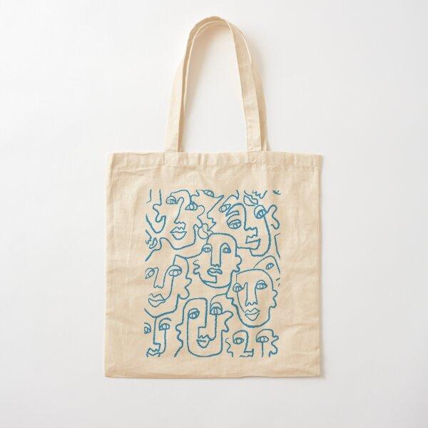 Blue line art faces print Cotton Tote Bag