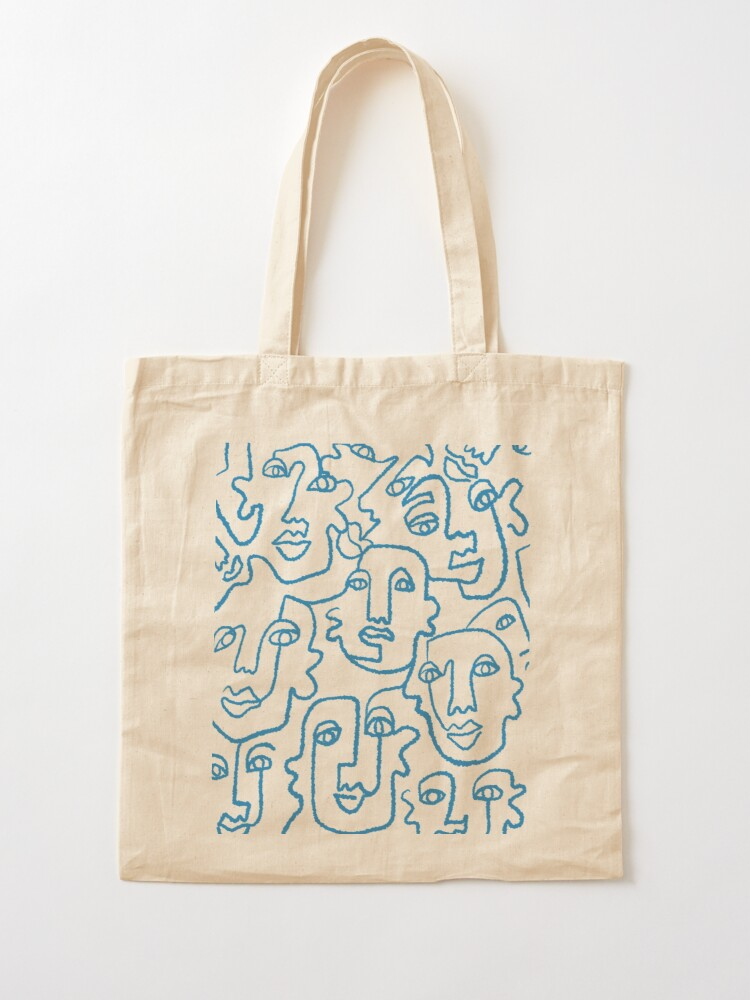 Alternate view of Blue line art faces print Tote Bag