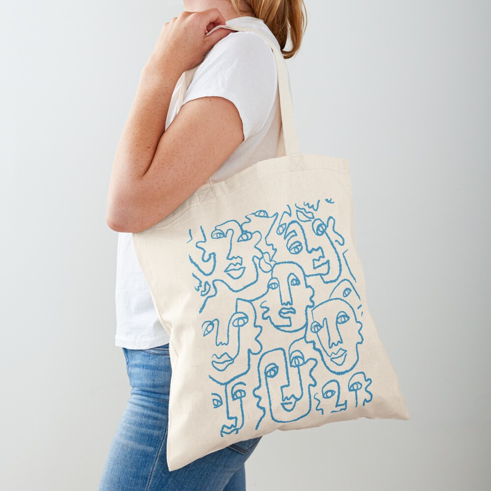 Blue line art faces print Tote Bag