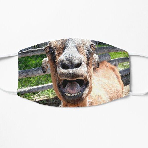smiling goat, yelling goat, funny goat Flat Mask