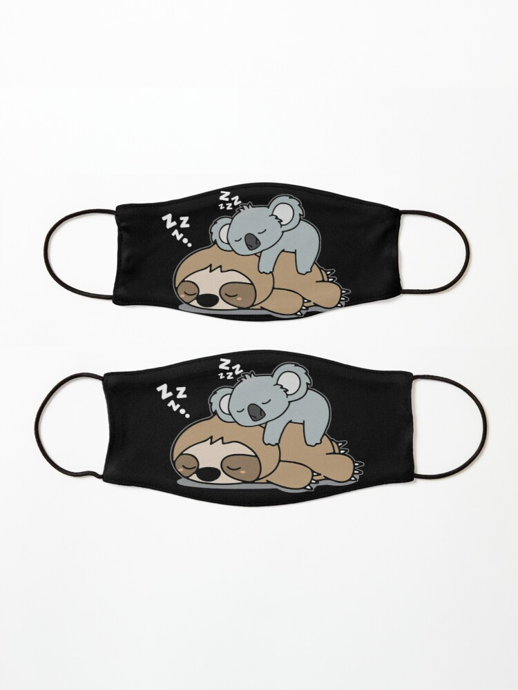 Alternate view of Cute Funny Lazy Sloth With Lazy Koala Mama Bear Napping Mothers Day Gift Mask