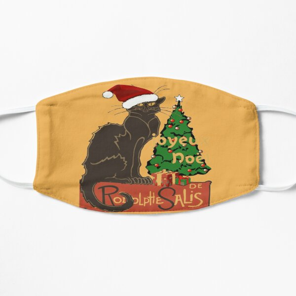 Joyeux Noel Le Chat Noir Spoof With Yule Tree Flat Mask