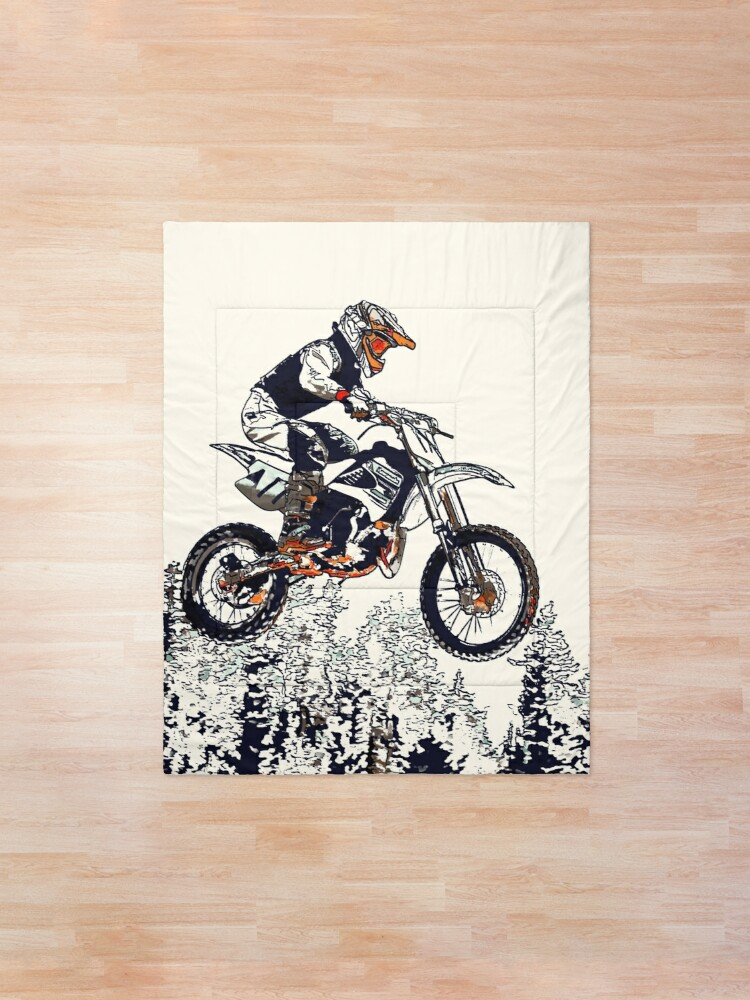 Motocross Rider Print Extreme Sports Quilted Coverlet /& Pillow Shams Set
