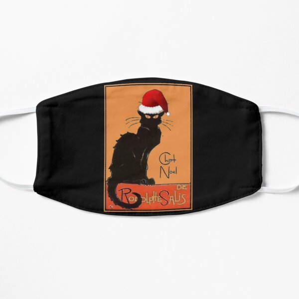 Le Chat Noel Christmas Parody Grungy Distressed Vintage Cat Flat Mask