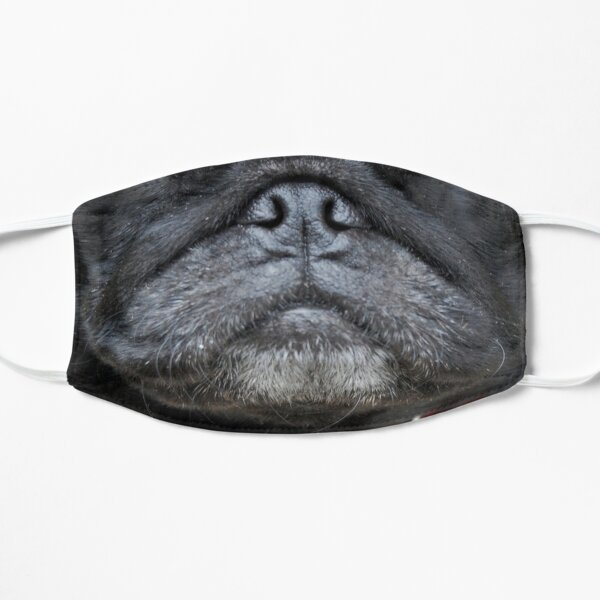 Black Pug Nose and Mouth ~ Cute and Funny Animal Medical Face Masks ~ 1 Flat Mask