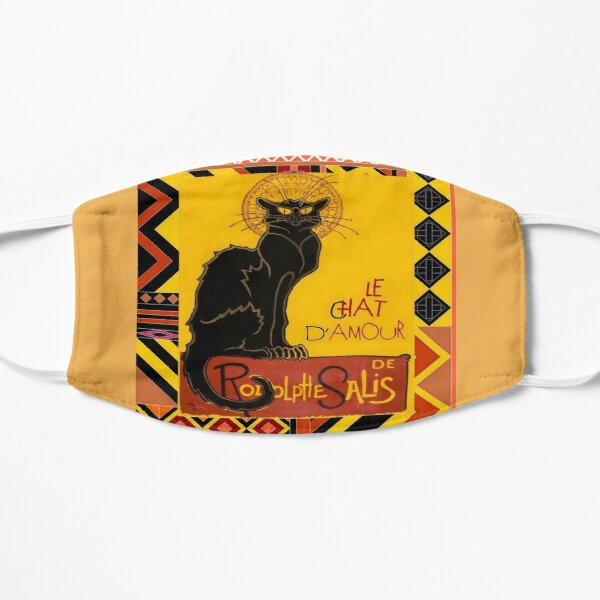 Le Chat Noir D'Amour With Ethnic Border Flat Mask