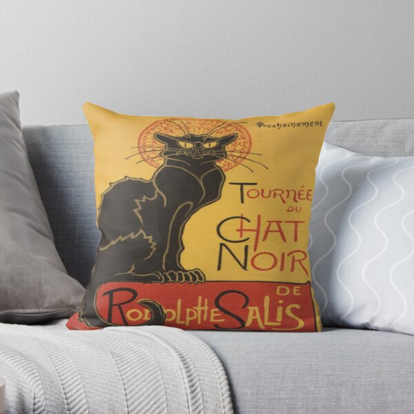 Soon, the Black Cat Tour by Rodolphe Salis Throw Pillow