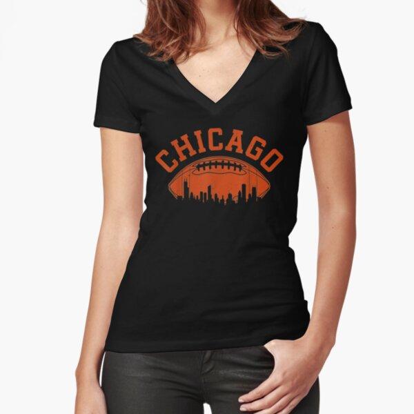 Chicago Football Skyline | Vintage Illinois Bear Gift Fitted V-Neck T-Shirt