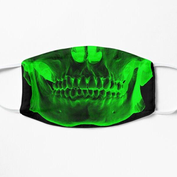 skull x ray mask green Flat Mask