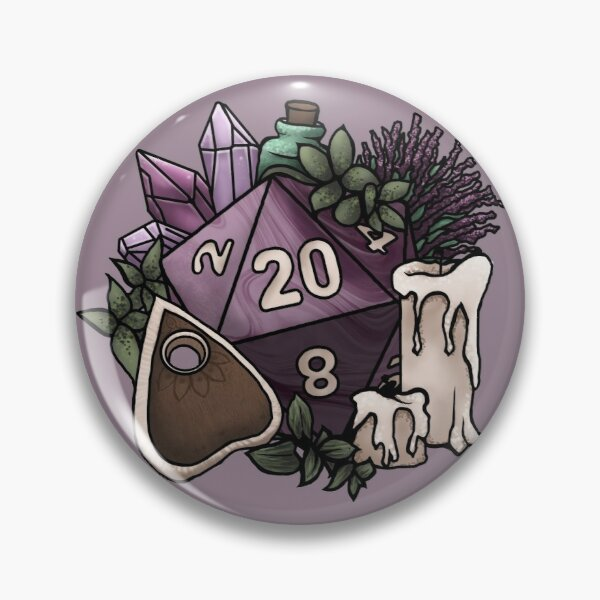 Witchy D20 Tabletop RPG Gaming Dice Pin