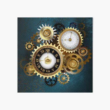 Two Steampunk Clocks with Gears Art Board Print