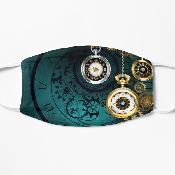 Clock with Gears on Green Background ( Steampunk ) Flat Mask