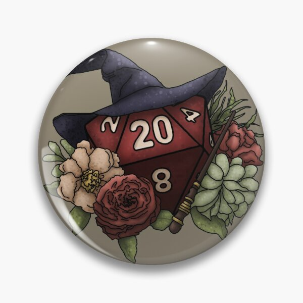 Wizard Class D20 - Tabletop Gaming Dice Pin