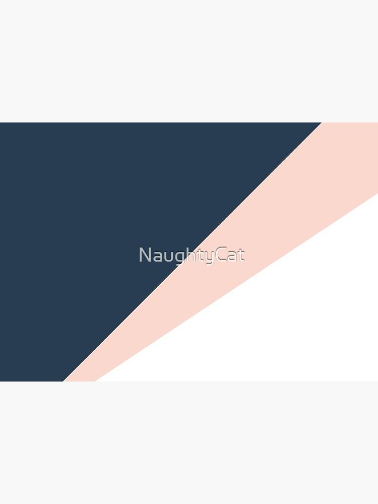 Elegant blush pink & navy blue geometric triangles by NaughtyCat