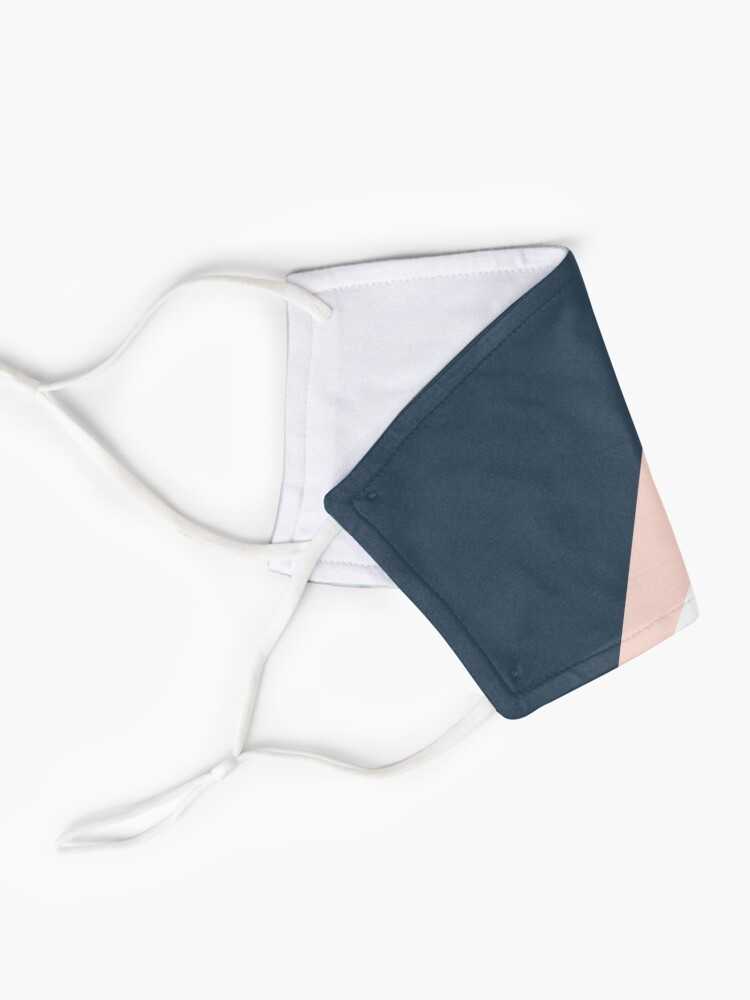 Alternate view of Elegant blush pink & navy blue geometric triangles Mask