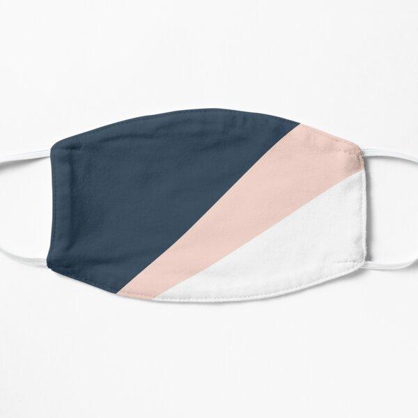 Elegant blush pink & navy blue geometric triangles Flat Mask