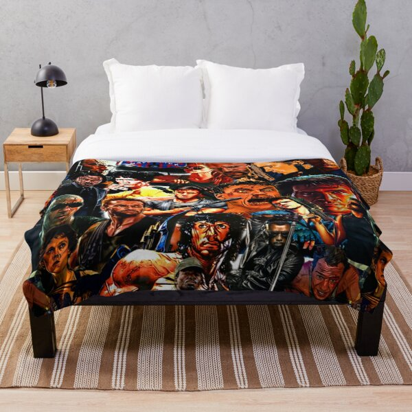 Collage Of Action Heroes  Throw Blanket
