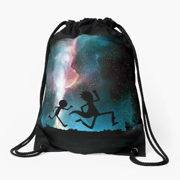 Rick and Morty under the stars Drawstring Bag