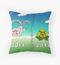 Binary Options News Cartoon Tortoise and Hare Throw Pillow