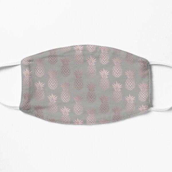 Girly rose gold & grey pineapple pattern  Flat Mask