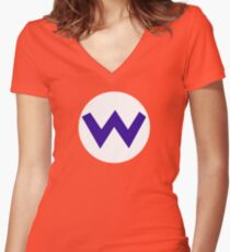 Super Mario Wario Icon Women's Fitted V-Neck T-Shirt