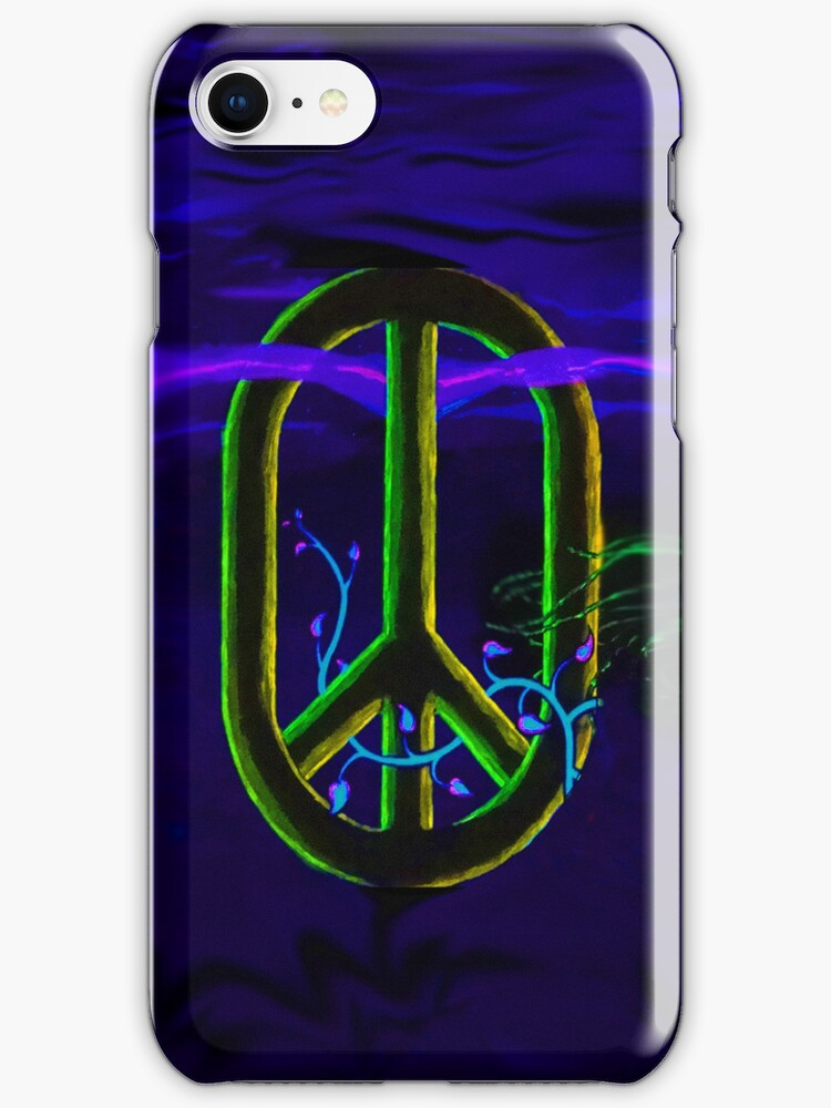 Peace Sign Iphone Case Blue by Monica Wyland